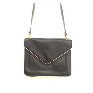 Zara Basic Black & Gold Envelope Purse Bag